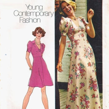 Simplicity 6034 Sewing Pattern Retro 70s Boho Hippie Style Maxi Midi Dress Puff Sleeves Flared Skirt Empire Waist Bust 38