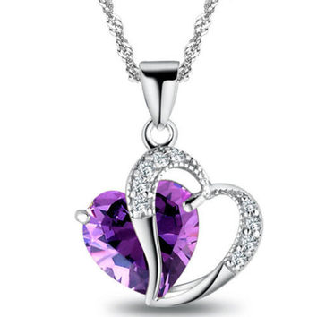 Lady Heart Crystal Amethyst Pendant Necklace