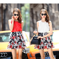 Sleeveless Pleated Top with Floral A-Line Mini Skater Skirt Set