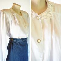 Vintage 80s white lace blouse oversized new romantic Edwardian shoulder pads buttons chic preppy collar secretary wedding fancy early 90s