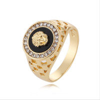 Versace:Plated 18K gold lion head men's ring foreign trade jewelry