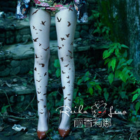 Princess sweet lolita pantyhose Character of literature and art department of forestry sweet bird fly printing pantyhose LKW97
