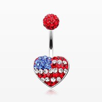 American Flag Multi-Gem Sparkle Belly Button Ring
