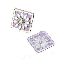 Basket Hill, 925 Silver Flower in a Gold Tone SquarePost Earrings