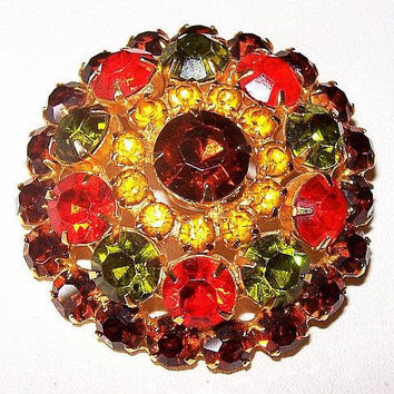 "Juliana Brooch D&E Confirmed Orange Green Topaz Rhinestones Gold Metal 2"" Vintage"