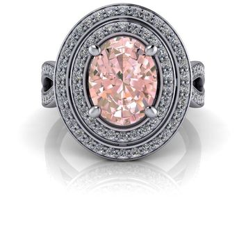 Oval Morganite Double Halo Diamond Engagement Ring 2.09 ctw