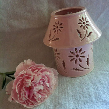 Pink Ceramic Flower Candle Holder Vintage Rose Colored Votive Candle Warmer With Cutout Daisy Pattern on Base and Shade Floral Home Decor