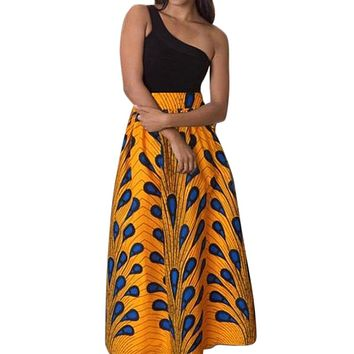 Novarena 2019 Women African Printed Womens Casual Maxi Skirt Flared Pleated Floral Maxi Dashiki Long Skirts Multi Plus Size A Line High Waist Ball Gown (S-XL)