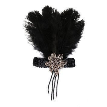 Black Crystal Sequins Ostrich Feather Headpiece Vintage Headband Flapper EE