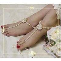 Barefoot sandals | gold barefoot sandals | FRENCH CHIC Beach wedding foot jewelry | paris pearl footless sandles