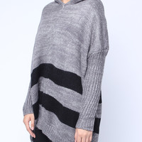 'The Donielle' Gray Striped Long Sleeve Hooded Sweater