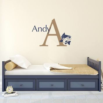 Initial Name Fish Decal Set - Bass Decal - Boy Bedroom Wall Art - Fishing Sticker - Large