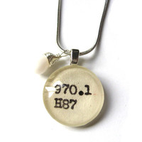 White Hot Summer Dewey Decimal Card Catalog with Czech Glass Drop and Sterling Silver Chain Necklace