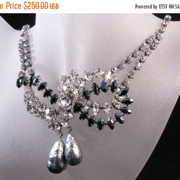 ON SALE STUNNING Mid Century Swarovski Crystal Necklace With Faux Pearls Bridal Necklace High Fashion Glamour