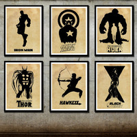 Avengers Poster Set 6 posters Captain America Iron Man Hulk Thor Hawyeye Black Widow