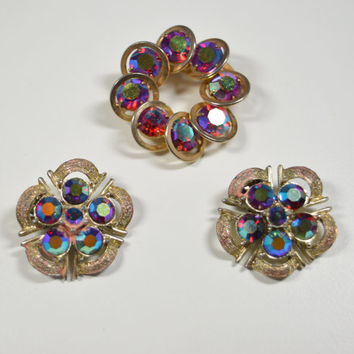 Vintage Aurora Borealis Pin Brooch Coro Clip Earrings Red Facetted Rhinestones Goldtone Accents Coro AB Earrings Coro Jewelry AB Rhinestones