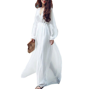 Women White Boho Evening Party Long Maxi Beach Dress Chiffon Sundress SM6