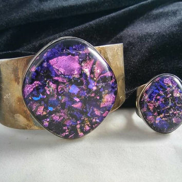 Now On Sale Sterling Silver Purple DICHROIC  Glass Wide Chunky Cuff Bracelet Ring Set- Signed 925 Desert Rose Trading  -High End Collectible