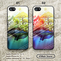 Whale Island iPhone 5 Case, Whale iPhone 5 5s 5c Hard Case Rubber Case, cover skin case for iPhone 5 5s 5c case
