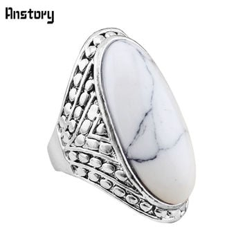 Fashion Jewelry Vintage Look Tibetan Alloy Antique Silver Plated Exotic Milet Dot White Oval Turquoise Ring TR363
