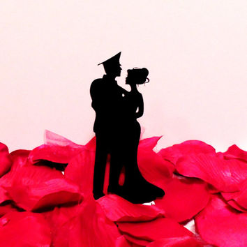 Romantic Military Couple Cake Topper