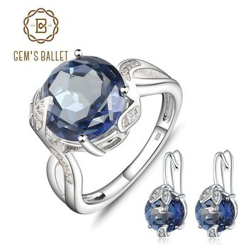 Blue Mystic Quartz Earrings And Ring Set In Solid 925 Sterling Silver
