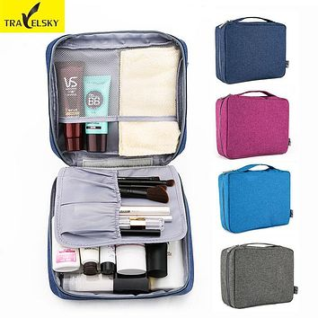 Travelsky New Women Portable Zipper Travel Makeup Organizer Men Storage Wash Pouch Toiletry Cosmetic Bag Make Up Beauty Case