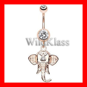 Belly Ring Rose Gold Shri Ganesha Elephant Belly Button Ring 14g Navel Ring Belly Piercing Navel Piercing Belly Jewelry Navel Jewelery