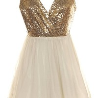 Party Primping Dress | Gold Sequin Ivory Chiffon Mini Dresses | RicketyRack.com