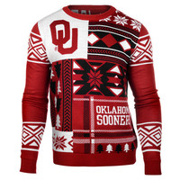 """Oklahoma Sooners Official NCAA Men's """"Ugly Patches"""" Sweater by Klew"""
