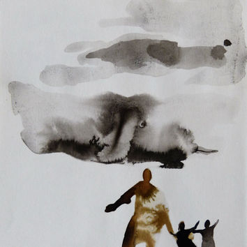 RUNNING FROM the STORM - original drawing ink painting, people nature weather fantasy, authentic art from Paris unique gift - not a print!