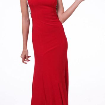 Cap Sleeves Jeweled Long Evening Dress Red
