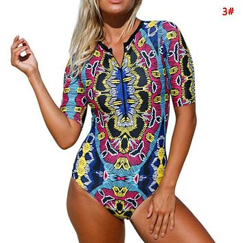 Summer Fashion New More Leaf Retro Print Wading Sports Shorts Sleeve Swimsuit One Piece Bikini 3#