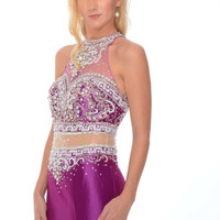 Precious Formals C70218 Mock 2 Piece Mermaid Prom Dress