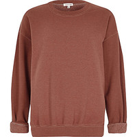 River Island Womens Rust brown soft jersey slouchy sweater