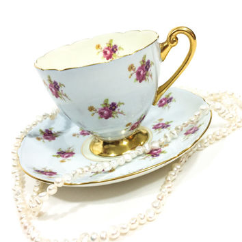 Shelley Tea Cup and Saucer, Pale Blue with Roses, Gold Pedestal and Rims, Rare Pattern, Ripon Shape, English Tea Cup, Vintage