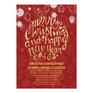 Red Gold Script Cheers to New Year Christmas Party Card