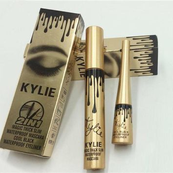 Kylie Jenner Cosmetics Waterproof Black Liquid Eyeliner + Mascara 2 In 1 Make Up Set High Quality | Best Deal Online
