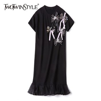 TWOTWINSTYLE Beading Bowknot T-shirt Dress Female Short Sleeve Patchwork Ruffle Mesh Mermaid Dresses Women Casual 2018 Summer