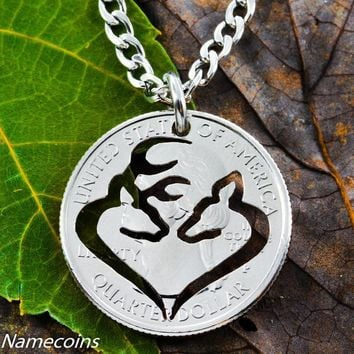 Buck and Doe Heart Silhouette, Hand Cut Coin Jewelry, Deer by NameCoins