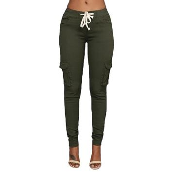 2018 Autumn Women Skinny Pants Full Length Pencil Trousers Black Green Khaki White Capris Plus Size Pantalon Femme