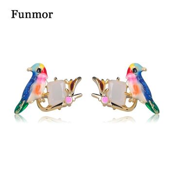 FUNMOR Classic Enamel Glaze Birds Stud Earrings Europe Fashion Party Ear Jewelry Women Girls White Opal Gem Animal Earring
