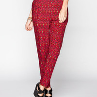 Full Tilt  Ethnic Print Yoke Womens Skinny Pants Burgundy  In Sizes