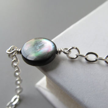 Silver Eyeglass Necklace Chain with Mother of Pearl