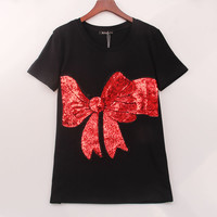 2 Colors 2016 Kawaii T Shirt Women Bow Sequined Sequins T-shirt Women Tops Tee Shirt Femme New Summer Fashion Women Clothing