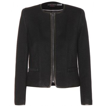 alice + olivia - jersey jacket with leather trims
