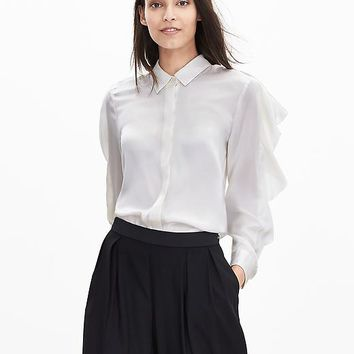 Banana Republic Womens Heritage Ruffled Silk Blouse