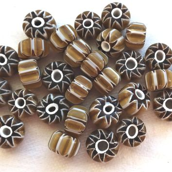 lot of 25 Brown, beige, khaki and white striped chevron glass pony. roller or crow beads with black ends approx 8 x 5mm, big hole C1681