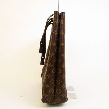 Auth LOUIS VUITTON Monogram Leather Brown Tote Bag Purse Cabas Beaubourg #5990