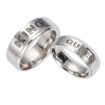 Stylish Shiny Gift New Arrival Jewelry Stainless Steel Crown Couple Titanium Ring [11192765767]